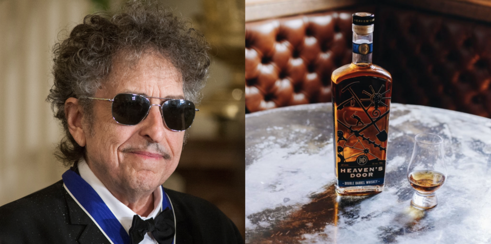 """<p>In 2015, Bob Dylan set out to create a collection of small-batch American whiskeys that would tell a story. The result: Heaven's Door Whiskey, a brand of award-winning hand-crafted American whiskeys. Fun note: Each bottle showcases the welded iron gates Dylan created in his metalworking studio.</p><p><a class=""""link rapid-noclick-resp"""" href=""""https://go.redirectingat.com?id=74968X1596630&url=https%3A%2F%2Fwww.reservebar.com%2Fcollections%2Fheavens-door&sref=https%3A%2F%2Fwww.delish.com%2Ffood%2Fg32949671%2Fcelebrity-alcohol-brands%2F"""" rel=""""nofollow noopener"""" target=""""_blank"""" data-ylk=""""slk:BUY NOW"""">BUY NOW</a> <em><strong>$50, reservebar.com</strong></em></p>"""