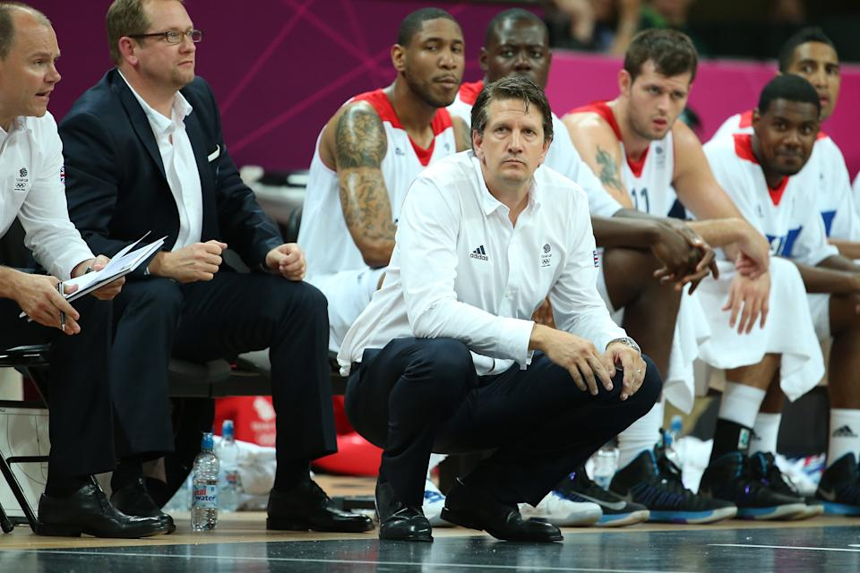 Great Britain coach Chris Finch looks on in the Men's Basketball Preliminary Round match between Great Britain and Brazil on Day 4 of the London 2012 Olympic Games at Basketball Arena on July 31, 2012 in London, England.  (Photo by Christian Petersen/Getty Images)