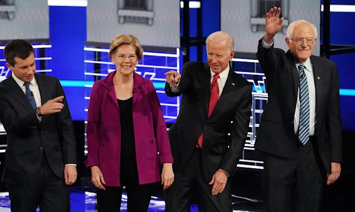 South Bend Mayor Pete Buttigieg, Senator Elizabeth Warren, former Vice President Joe Biden and Senator Bernie Sanders during the U.S. Democratic presidential candidates debate in Atlanta. REUTERS/Brendan McDermid