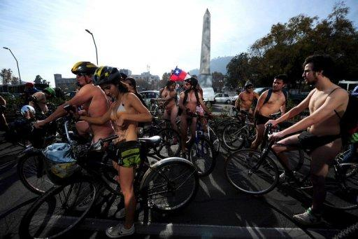 "Seven bicyclists have been arrested for ""moral offenses"" as Chile saw its first edition of the World Naked Bike Ride, which is taking place in cities around the world"