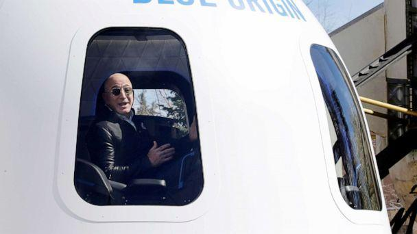 PHOTO:Amazon and Blue Origin founder Jeff Bezos addresses the media about the New Shepard rocket booster and Crew Capsule mockup at the 33rd Space Symposium in Colorado Springs, Colo., April 5, 2017.  (Isaiah Downing/Reuters, FILE)