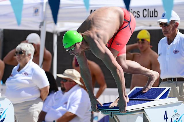 MESA, AZ - APRIL 14: Ryan Lochte starts the Men 100 LC Meter Butterfly prelims at Skyline Aquatic Center on April 14, 2016 in Mesa, Arizona. (Photo by Jennifer Stewart/Getty Images)