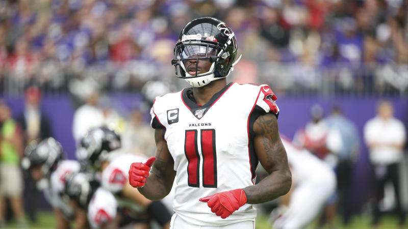 Atlanta Falcons wide receiver Julio Jones runs on the field during the second half of an NFL football game against the Minnesota Vikings, Sunday, Sept. 8, 2019, in Minneapolis. (AP Photo/Bruce Kluckhohn)
