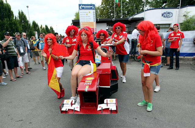 Fans around Monza before the 2013 Italian Grand Prix at the Autodromo di Monza in Monza, Italy.
