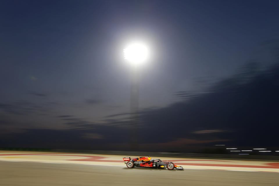 Red Bull driver Max Verstappen of the Netherlands steers his car during the qualifying session at the Formula One Bahrain International Circuit in Sakhir, Bahrain, Saturday, Nov. 28, 2020. (Hamad Mohammed, Pool via AP)
