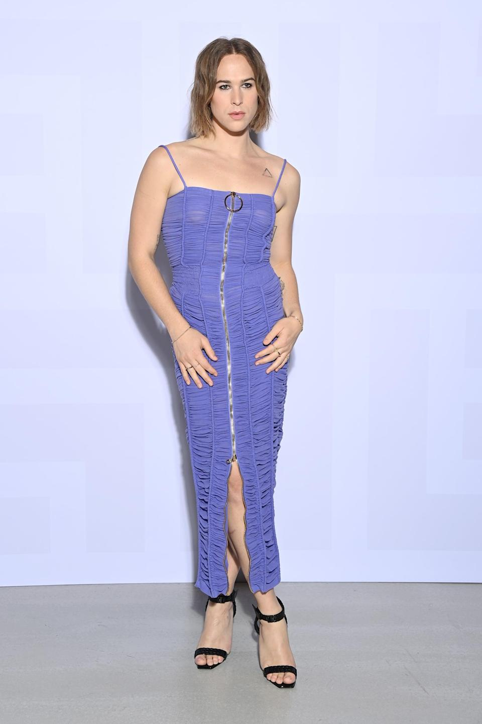 <p>Wow, wow, WOW! Tommy definitely turned heads when she waltzed into Balmain's show in this gorgeous lilac dress custom-designed by Balmain's very own Olivier Rousteing.</p>