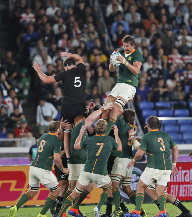 South Africa's Eben Etzebeth wins the ball in the air during the Rugby World Cup Pool B game between New Zealand and South Africa in Yokohama, Japan, Saturday, Sept. 21, 2019. (AP Photo/Shuji Kajiyama)