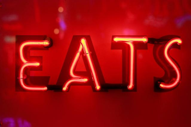<p>A neon light that reads 'EATS' forms part of an artwork exhibited in God's Own Junkyard gallery and cafe in London, Britain, May 13, 2017. (Photo: Russell Boyce/Reuters) </p>