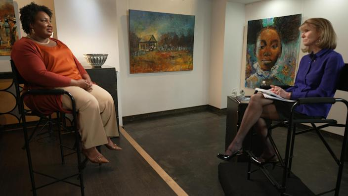 Stacey Abrams with correspondent Erin Moriarty. / Credit: CBS News