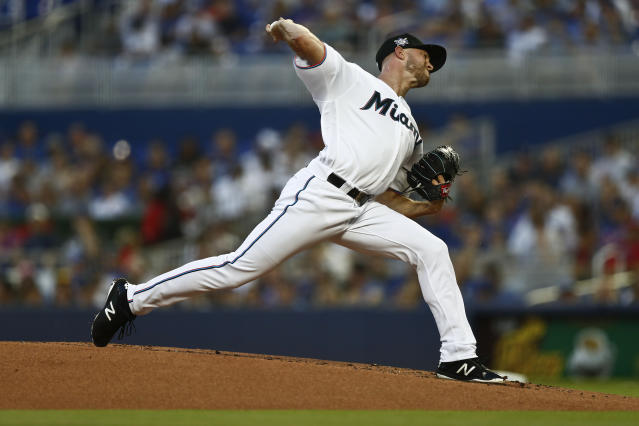 Miami Marlins starting pitcher Trevor Richards delivers during the first inning of a baseball game against the Chicago Cubs, Monday, April 15, 2019, in Miami. (AP Photo/Brynn Anderson)