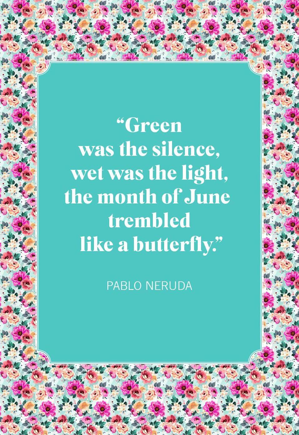 """<p>""""Green was the silence, wet was the light, the month of June trembled like a butterfly.""""</p>"""