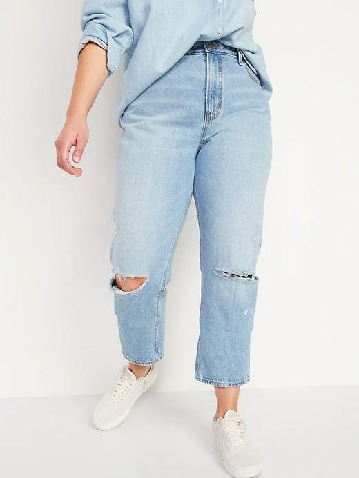 <p>If you're into a more dad-jean look, these <span>Old Navy High-Waisted Slouchy Straight Cropped Ripped Jeans for Women</span> ($45) give you that relaxed, all-day-on-a-recliner vibe.</p>