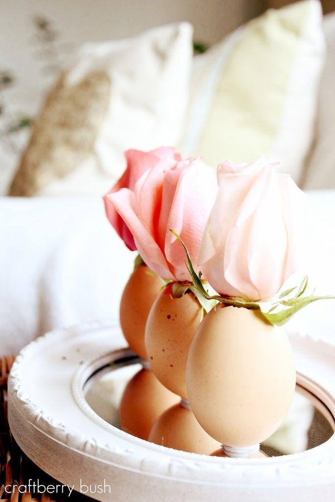 """<p>Turn the incredible edible into a darling bud vase. Chip an opening at one end of the egg, empty it out, and secure the shell to a mirror with candle wax. Fill the shell with water and place a fresh flower inside.</p><p><em><a href=""""http://www.craftberrybush.com/2012/03/a-touch-of-easter-egg-flower-vase.html"""" rel=""""nofollow noopener"""" target=""""_blank"""" data-ylk=""""slk:Get the tutorial from Craft Berry Bush »"""" class=""""link rapid-noclick-resp"""">Get the tutorial from Craft Berry Bush »</a></em></p><p><a class=""""link rapid-noclick-resp"""" href=""""https://www.amazon.com/Stick-Um-Candle-Adhesive-Candles-Straight/dp/B0025V680S?tag=syn-yahoo-20&ascsubtag=%5Bartid%7C10055.g.2217%5Bsrc%7Cyahoo-us"""" rel=""""nofollow noopener"""" target=""""_blank"""" data-ylk=""""slk:BUY CANDLE WAX"""">BUY CANDLE WAX</a> <br></p>"""