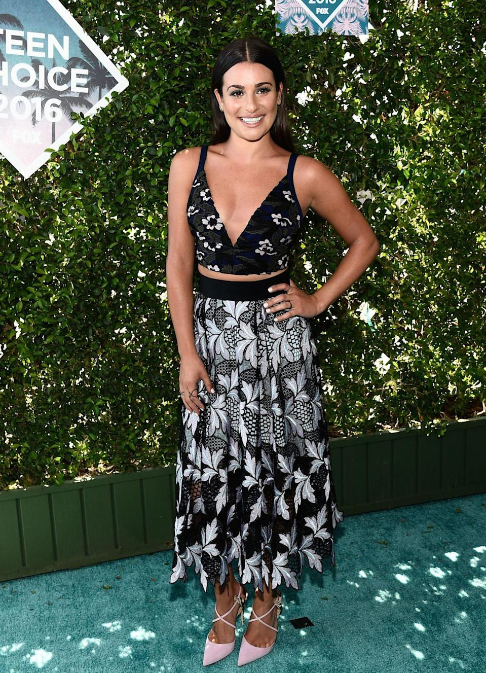<p>Lea opted for a very summery Self Portrait co-ord. <i> [Photo: Rex]</i></p>