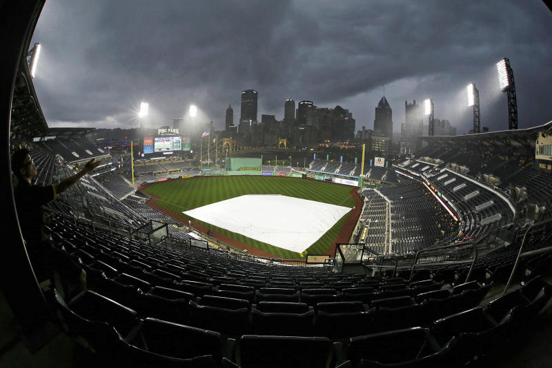 Brewers bullpen coach Marcus Hanel provided some quality rain delay entertain Wednesday night in Pittsburgh. (AP)