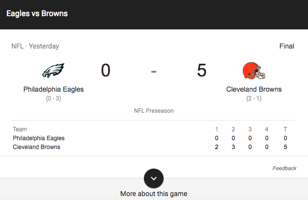 No, this Browns-Eagles preseason score is not a typo