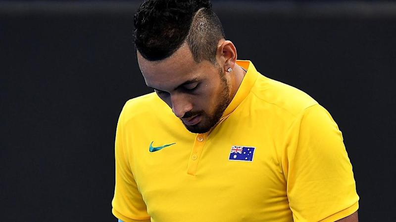 Kyrgios struggled with an elbow injury during the match. Pic: Getty