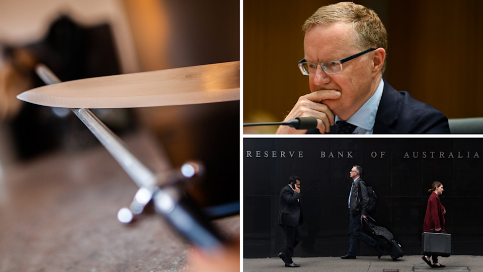 An image of a sharpening knife, RBA Governor Philip Lowe, the RBA building.
