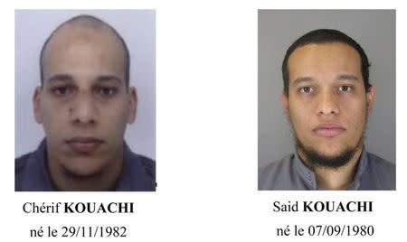 A call for witnesses released by the Paris Prefecture de Police  shows the photos of two brothers who are actively being sought for questioning in the shooting at the Paris offices