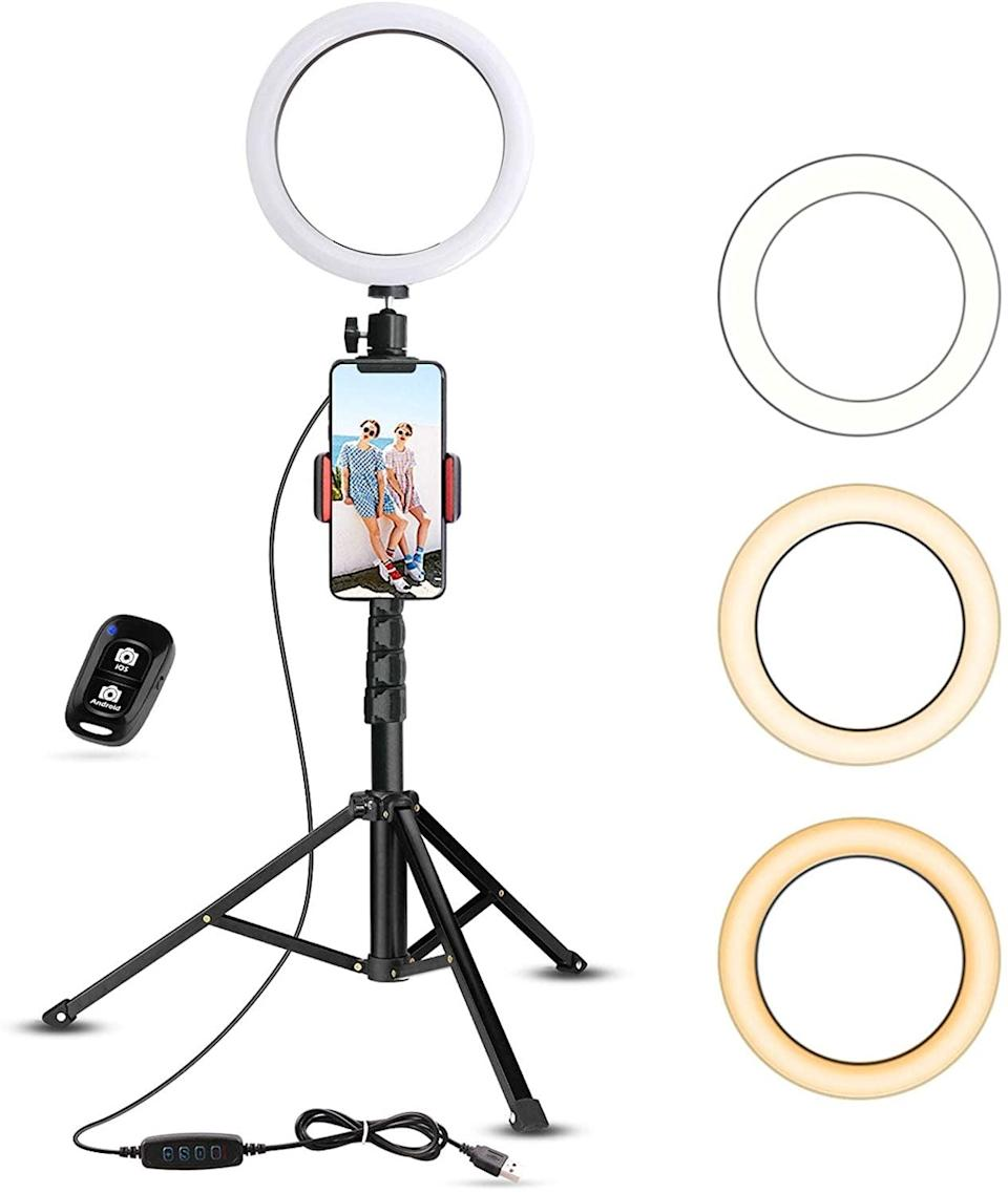 <p>It's not just for influencers anymore. The <span>UBeesize Selfie Ring Light With Tripod Stand &amp; Cell Phone Holder</span> ($34, originally $40) really does do wonders when it comes to how you look on camera. If you're taking a lot of meetings, this is worth it.</p>