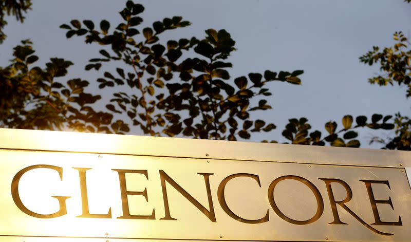FILE PHOTO: The logo of commodities trader Glencore at its Baar headquarters