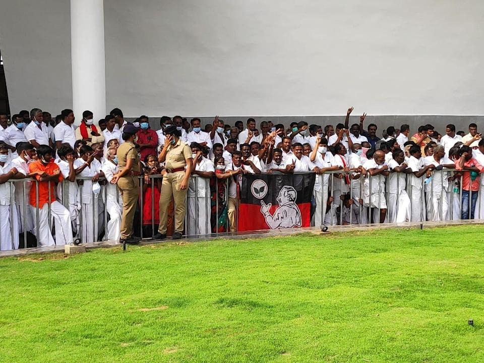 Party cadre and senior leaders were present with Deputy Chief Minister O Panneerselvam at the memorial.