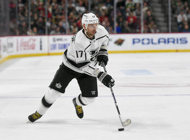 Los Angeles Kings wing Ilya Kovalchuk takes the puck against the Minnesota Wild during the second period of an NHL hockey game Saturday, Oct. 26, 2019, in St. Paul, Minn. (AP Photo/Craig Lassig)