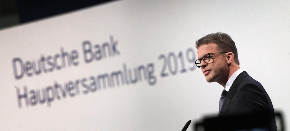 Christian Sewing, CEO of German bank Deutsche Bank, addresses shareholders during the company's annual general meeting in Frankfurt am Main, western Germany, on May 23, 2019. - Deutsche Bank executives face angry shareholders at the annual general meeting when their names could be added to a growing list of top managers denied investor backing, according to media reports and insiders. (Photo by Daniel ROLAND / AFP)        (Photo credit should read DANIEL ROLAND/AFP/Getty Images)
