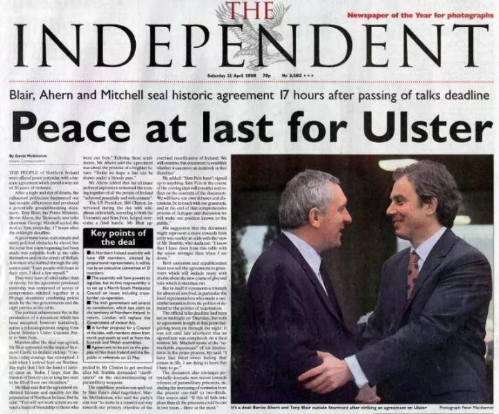 The Independent's front page after a deal was struck in 1998