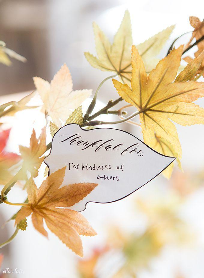 """<p>We are definitely thankful for these charming free printables, which you can display on an arrangement of fall branches in your entry way.</p><p><strong>Get the printables at <a href=""""http://www.ellaclaireinspired.com/thankful-tree-leaves/"""" rel=""""nofollow noopener"""" target=""""_blank"""" data-ylk=""""slk:Ella Claire Inspired"""" class=""""link rapid-noclick-resp"""">Ella Claire Inspired</a>.</strong></p><p><strong><a class=""""link rapid-noclick-resp"""" href=""""https://www.amazon.com/Rinlong-Artificial-Yellow-Branch-Office/dp/B078K89QJ7/?tag=syn-yahoo-20&ascsubtag=%5Bartid%7C10050.g.1371%5Bsrc%7Cyahoo-us"""" rel=""""nofollow noopener"""" target=""""_blank"""" data-ylk=""""slk:SHOP FAUX FOLIAGE"""">SHOP FAUX FOLIAGE</a></strong></p>"""