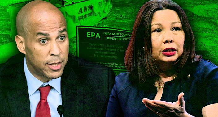 Senators Cory Booker and Tammy Duckworth. Background: Quanta Resources Superfund Site in Edgewater, NJ.. (Photo illustration : Yahoo News; photos: AP, Michael Brochstein/SOPA Images/LightRocket via Getty Images, Anthony Albright/Wikimedia)