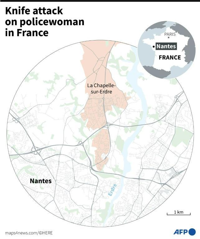 A map locating Nantes and La Chapelle-sur-Erdre in France, where a man attacked a policewoman with a knife on Friday