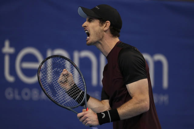 Andy Murray of Britain reacts after scoring a point against Stan Wawrinka of Switzerland during the European Open final tennis match in Antwerp, Belgium, Sunday, Oct. 20, 2019. (AP Photo/Francisco Seco)