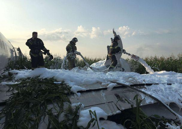 PHOTO: Firefighters spray foam on the Ural Airlines Airbus 321 passenger plane following an emergency landing in a field near Zhukovsky International Airport near Moscow on Aug. 15, 2019. (euters)