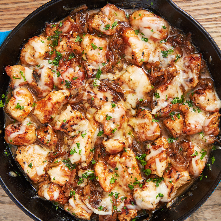 """<p>We love that this recipe comes together in one skillet and in less than an hour. Dunking good bread into the extra pan sauce is highly encouraged.</p><p>Get the <a href=""""https://www.delish.com/uk/cooking/recipes/a29496929/french-onion-chicken-recipe/"""" rel=""""nofollow noopener"""" target=""""_blank"""" data-ylk=""""slk:French Onion Chicken"""" class=""""link rapid-noclick-resp"""">French Onion Chicken</a> recipe.</p>"""