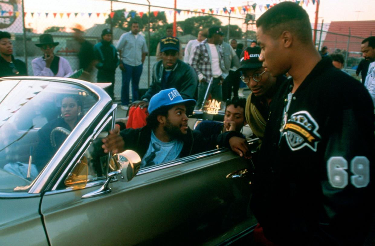 From left: Ice Cube, director John Singleton, Cuba Gooding Jr. on the set of 'Boyz n the Hood.' (Photo: Columbia Pictures/courtesy Everett Collection)