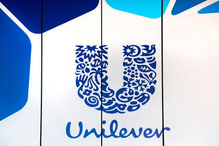 FILE PHOTO: The logo of Unilever is seen at the headquarters in Rotterdam, Netherlands August 21, 2018. REUTERS/Piroschka van de Wouw