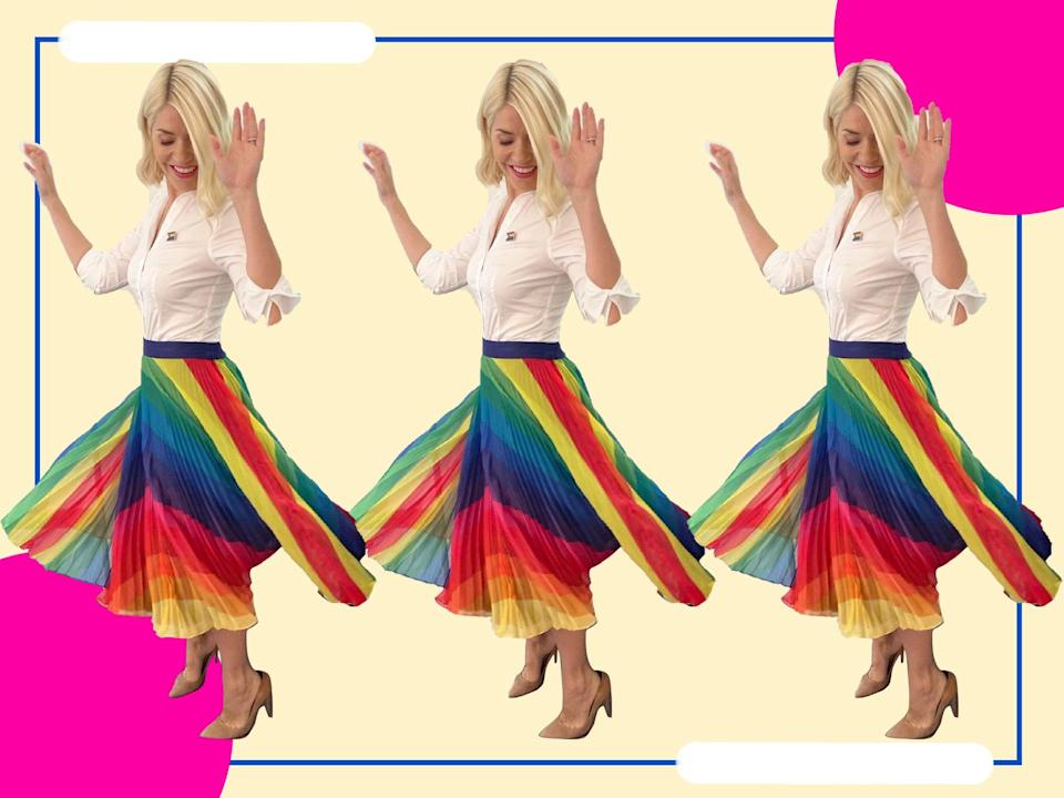 The pleated midi is a statement piece deserving a spot in your wardrobe (@hollywilloughby/The Independent)