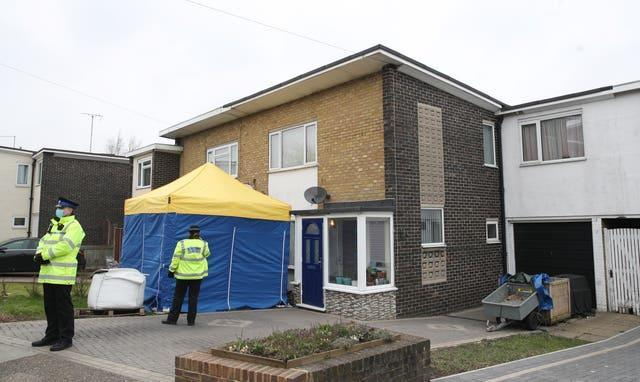 A tent covers the entrance to a house in Freemens Way in Deal