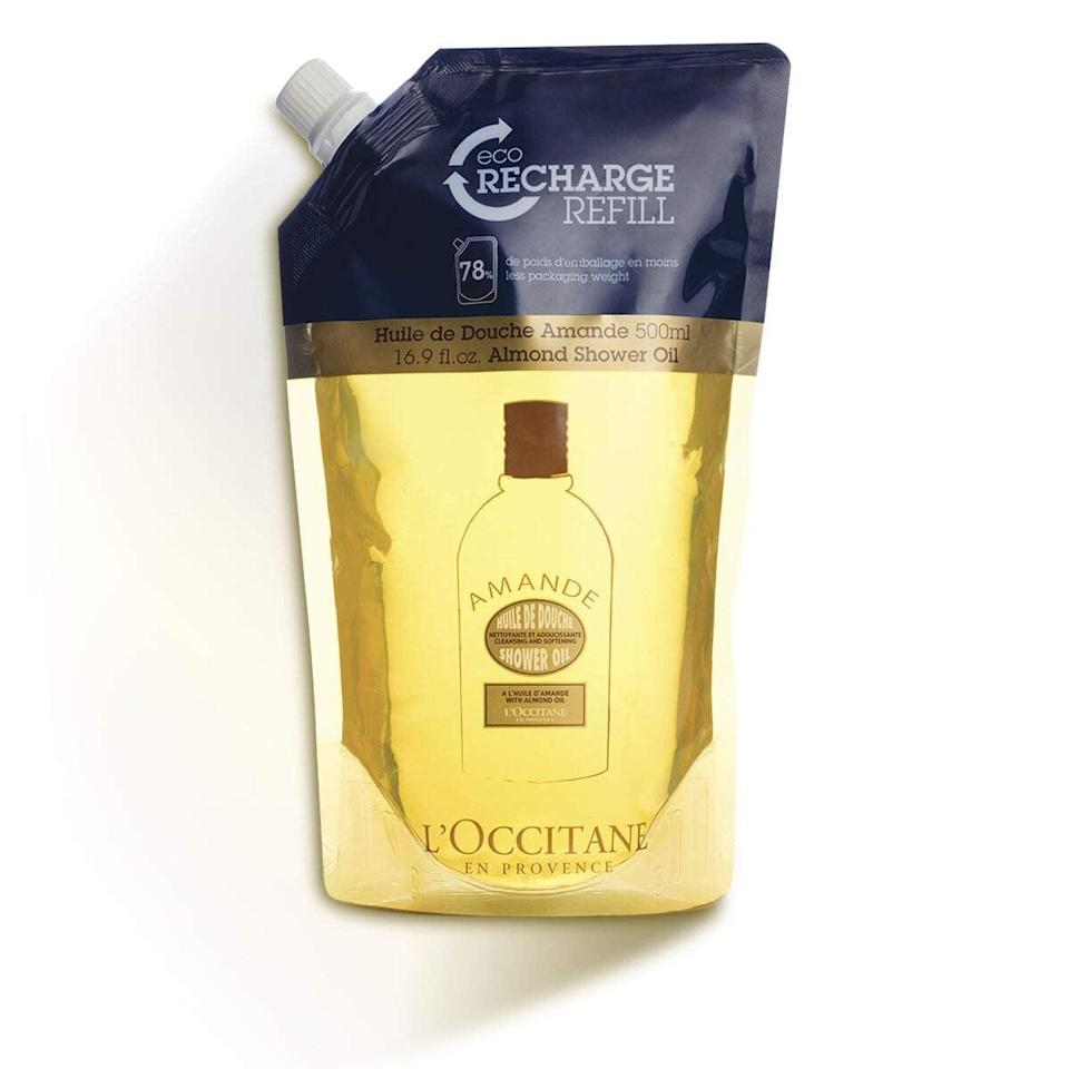 "<p>Many brands sell refills of your favorite products at a lower cost. Not only do products like the <a href=""https://www.popsugar.com/buy/L%27Occitane%20Cleansing%20%26amp%3B%20Softening%20Almond%20Shower%20Oil%20Refill-471028?p_name=L%27Occitane%20Cleansing%20%26amp%3B%20Softening%20Almond%20Shower%20Oil%20Refill&retailer=amazon.com&price=36&evar1=bella%3Aus&evar9=46407311&evar98=https%3A%2F%2Fwww.popsugar.com%2Fbeauty%2Fphoto-gallery%2F46407311%2Fimage%2F46407961%2FBuy-Refill-Packages&list1=beauty%20products%2Cbeauty%20tips&prop13=mobile&pdata=1"" class=""link rapid-noclick-resp"" rel=""nofollow noopener"" target=""_blank"" data-ylk=""slk:L'Occitane Cleansing & Softening Almond Shower Oil Refill"">L'Occitane Cleansing & Softening Almond Shower Oil Refill</a> ($36) save you money, but they also use less plastic than when you toss out your body wash bottle and purchase a new one. </p>"