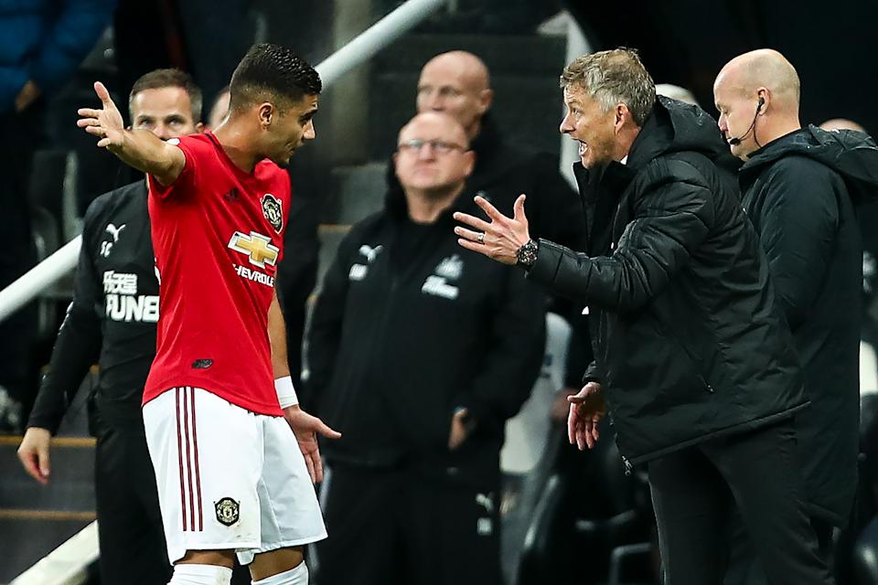 NEWCASTLE UPON TYNE, ENGLAND - OCTOBER 06: Ole Gunnar Solskjaer the head coach / manager of Manchester United reacts towards Andreas Pereira of Manchester United during the Premier League match between Newcastle United and Manchester United at St. James Park on October 6, 2019 in Newcastle upon Tyne, United Kingdom. (Photo by Robbie Jay Barratt - AMA/Getty Images)