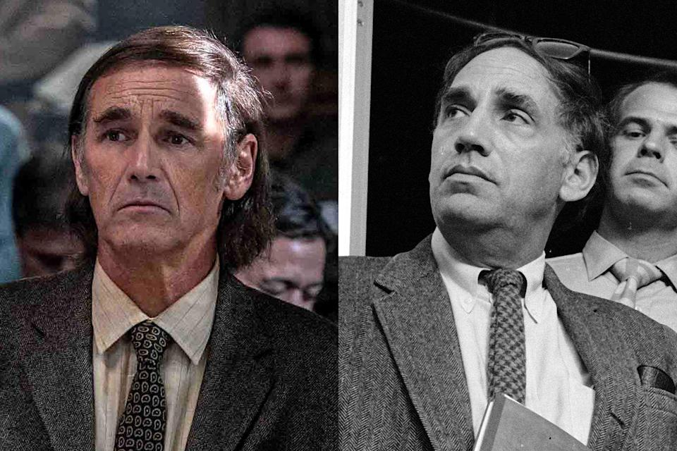 <p>British actor Mark Rylance (<em>Dunkirk</em>, <em>The BFG</em>) plays William Kunstler, the attorney who represented all of the defendants but Seale in the trial. Kunstler was well-known for his leftist politics and defending outcasts in court.</p>