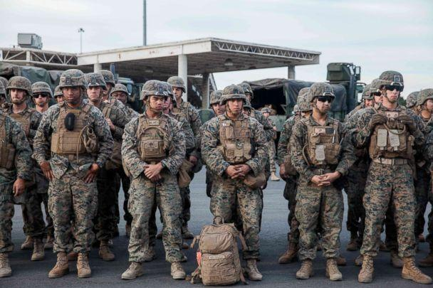 PHOTO: U.S. Military stand in line for a drill near the Otay Mesa Port of Entry, Calif., on Nov. 15, 2018. (Ariana Drehsler/AFP/Getty Images)