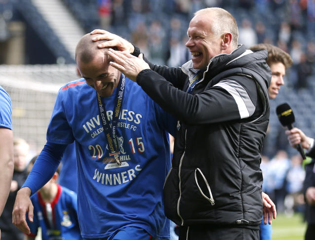 "Football - Falkirk v Inverness Caledonian Thistle - William Hill Scottish FA Cup Final - Hampden Park, Glasgow, Scotland - 30/5/15 Inverness Caledonian Thistle's manager John Hughes (R) celebrates with James Vincent after the game Action Images via Reuters / Graham Stuart Livepic EDITORIAL USE ONLY. No use with unauthorized audio, video, data, fixture lists, club/league logos or ""live"" services. Online in-match use limited to 45 images, no video emulation. No use in betting, games or single club/league/player publications. Please contact your account representative for further details."