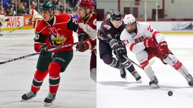 Justin Barron, left, and Morgan Barron, right, are moving closer to a shared dream of playing in the NHL. Morgan was called up by the New York Rangers on Friday and played Saturday against the New York Islanders. (Halifax Mooseheads/Ned Dykes/Cornell Athletics - image credit)