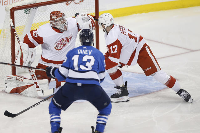 Winnipeg Jets' Brandon Tanev (13) scores on Detroit Red Wings goaltender Jonathan Bernier (45) as Filip Hronek (17) defends in the opening minute of an NHL hockey game Friday, Jan. 11, 2019, in Winnipeg, Manitoba. (John Woods/The Canadian Press via AP)