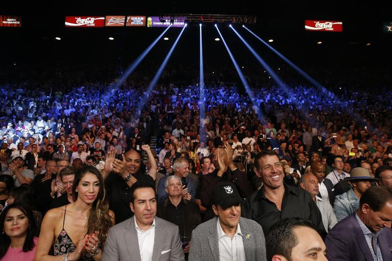 Members of the crowd await the start of the Floyd Mayweather vs Manny Pacquiao welterweight unification fight on May 2, 2015 at the MGM Grand Garden Arena