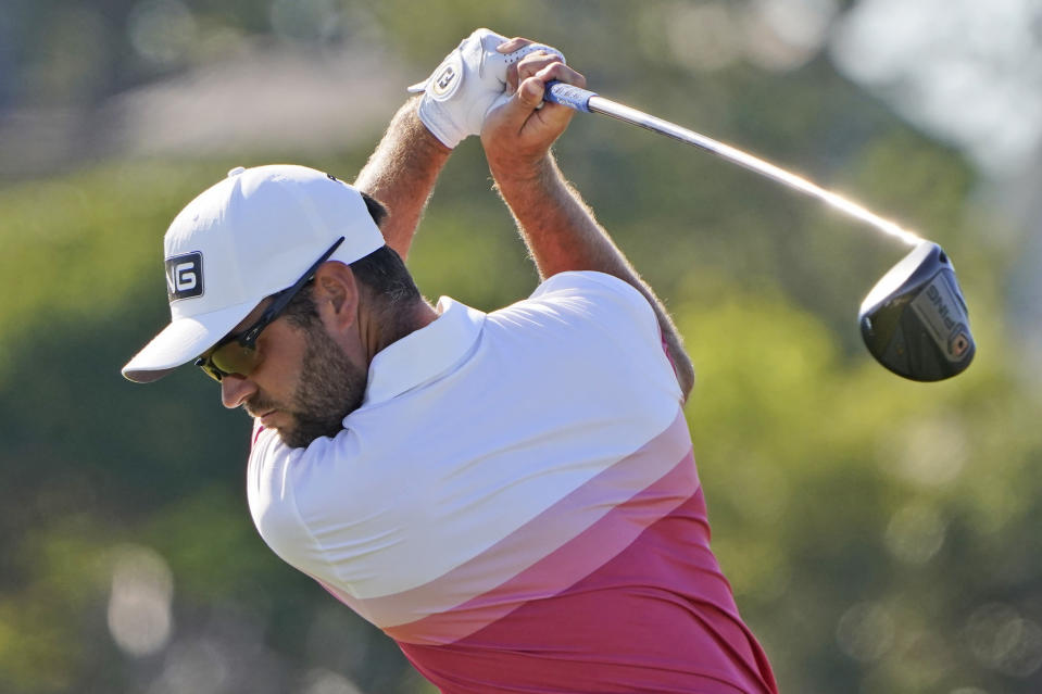Corey Conners, of Canada, hits his tee shot on the 16th hole during the first round of the PGA Championship golf tournament on the Ocean Course Thursday, May 20, 2021, in Kiawah Island, S.C. (AP Photo/Chris Carlson)