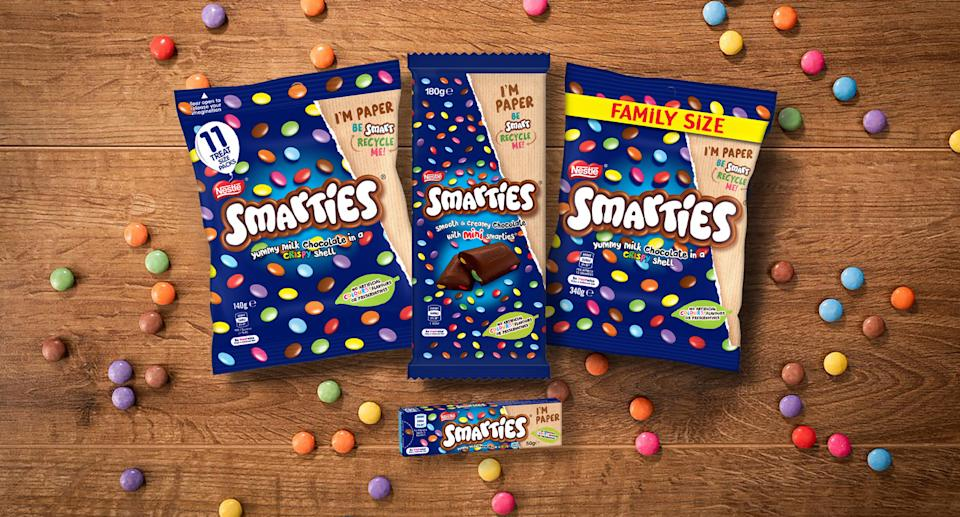 New recyclable Smarties paper packaging.