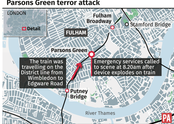 <em>Rush hour – Map of where the bomb detonated on the District Line train at Parsons Green (Picture: PA)</em>